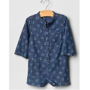 Baby Gap Chambray Floral Print Romper